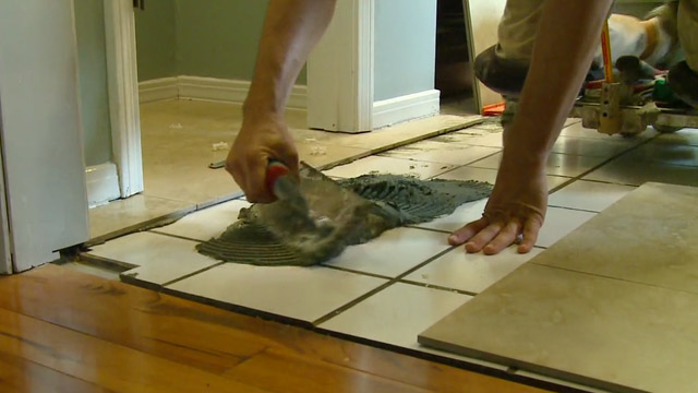 How to lay floor tiles video