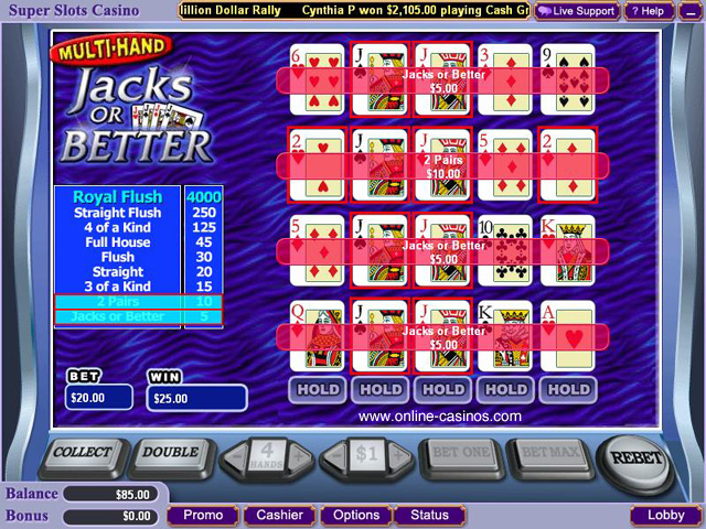 Jacks or better slot machine game